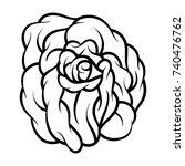 flower rose  black and white.... | Shutterstock .eps vector #740476762