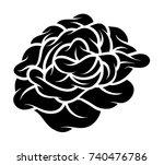 flower rose  black and white.... | Shutterstock .eps vector #740476786