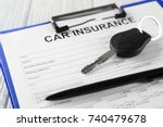 car insurance form and key on... | Shutterstock . vector #740479678