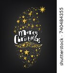 merry christmas background with ... | Shutterstock .eps vector #740484355