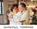 senior couple hugging at home... | Shutterstock . vector #740484466