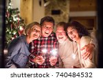 senior friends with sparklers... | Shutterstock . vector #740484532