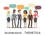 people talking together with... | Shutterstock .eps vector #740487316