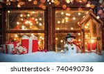 christmas still life with old... | Shutterstock . vector #740490736