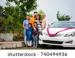indian modern parents with kids ... | Shutterstock . vector #740494936