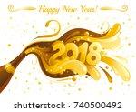 new year 2018 vector banner... | Shutterstock .eps vector #740500492