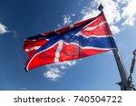flag on cruiser aurora. linear...   Shutterstock . vector #740504722