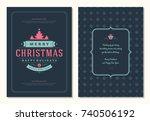 christmas greeting card design... | Shutterstock .eps vector #740506192