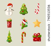 new year icons set with snowman ...   Shutterstock .eps vector #740513536