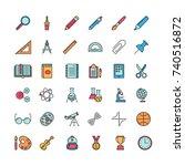 set of minimalistic education... | Shutterstock .eps vector #740516872