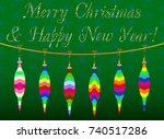 decorative colored christmas... | Shutterstock .eps vector #740517286