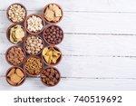 mix of snacks   pretzels  ...   Shutterstock . vector #740519692