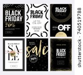 black friday sale banners. set... | Shutterstock .eps vector #740519788