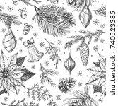 vintage christmas vector... | Shutterstock .eps vector #740523385