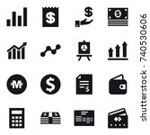 16 vector icon set   graph ... | Shutterstock .eps vector #740530606