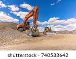 construction of a road. earth... | Shutterstock . vector #740533642