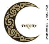 spiral celtic moon  horned moon ... | Shutterstock .eps vector #740534935