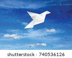 vector illustration with paper... | Shutterstock .eps vector #740536126