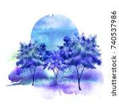 blue  purple tree  bush...   Shutterstock . vector #740537986
