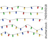 christmas tree made of lights... | Shutterstock .eps vector #740545018