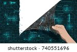 hacker breaks an abstract... | Shutterstock .eps vector #740551696