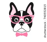 french bulldog girl with pink... | Shutterstock .eps vector #740552815