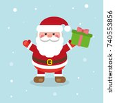 santa claus with present happy... | Shutterstock .eps vector #740553856