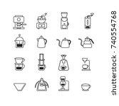 coffee icons set vector. | Shutterstock .eps vector #740554768