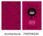 template design with wine icons ... | Shutterstock .eps vector #740558335