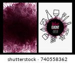 template design with wine icons ... | Shutterstock .eps vector #740558362
