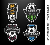 set of soccer football logo ... | Shutterstock .eps vector #740558365