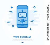 voice assistant on smartphone... | Shutterstock .eps vector #740560252