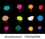 vector paint splatters.colorful ... | Shutterstock .eps vector #740566096