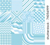 seamless blue patterns with... | Shutterstock .eps vector #74056999