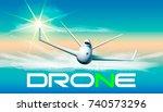 drone flying in sunlight....   Shutterstock .eps vector #740573296