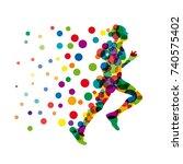 vector sign man runs fast ... | Shutterstock .eps vector #740575402