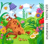 Stock vector vector illustration with an anthill and insects nature flowers and insects in the children s 740576155