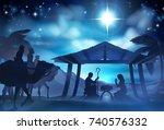 christmas christian nativity... | Shutterstock . vector #740576332