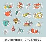 cartoon set of patch badges ... | Shutterstock .eps vector #740578912