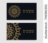 business card templates set... | Shutterstock .eps vector #740582302