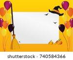 greeting card for halloween....   Shutterstock .eps vector #740584366