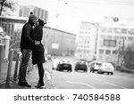 couple embracing on a walk...   Shutterstock . vector #740584588