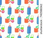 baby food cartoon seamless...   Shutterstock . vector #740588362
