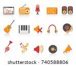 orange red color series music... | Shutterstock .eps vector #740588806