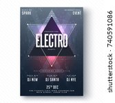 electro party flyer or banner... | Shutterstock .eps vector #740591086