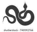 snake outline illustration.... | Shutterstock . vector #740592766