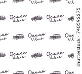 surfing old style car pattern... | Shutterstock . vector #740593375