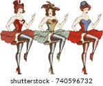 vector illustration of a cancan ... | Shutterstock .eps vector #740596732