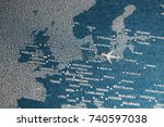 travel painted map with the... | Shutterstock . vector #740597038