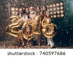 happy christmas moments with... | Shutterstock . vector #740597686